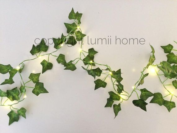 This is a beautiful Ivy leaf garland, made from artificial ivy leaves in two tones of green. All along the garland is twisted a copper wire containing