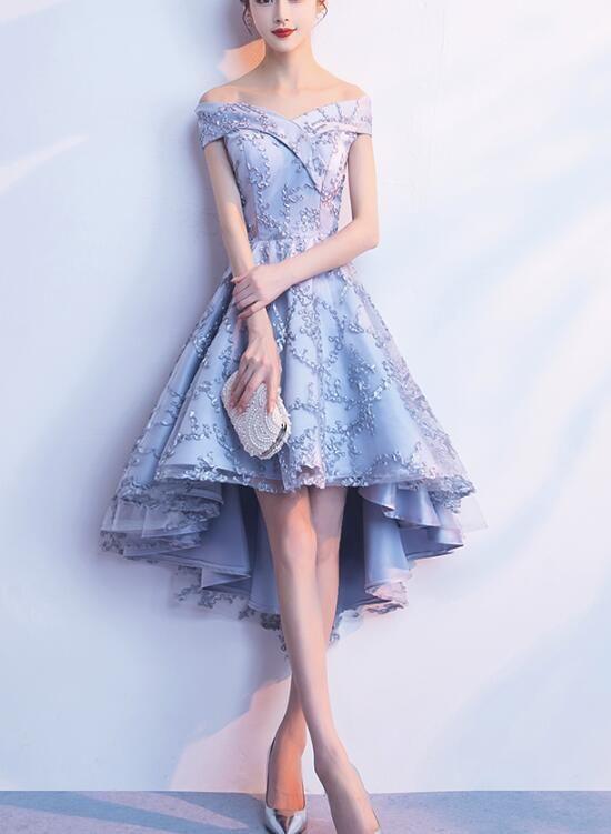 e824d2f52dee Pretty Grey Sweetheart High Low Formal Dress, Lovely Party Dress, Prom Dress  2019