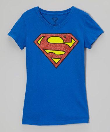 Royal Blue Supergirl Glitter Tee - Girls #zulilyfinds $10 http://www.zulily.com/invite/syen080