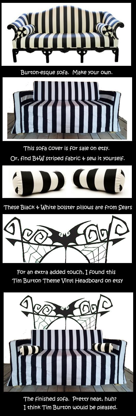 Make your own Burton-esque sofa! Tim Burton Sofa Couch -- you could use it year-round! Or, at least during