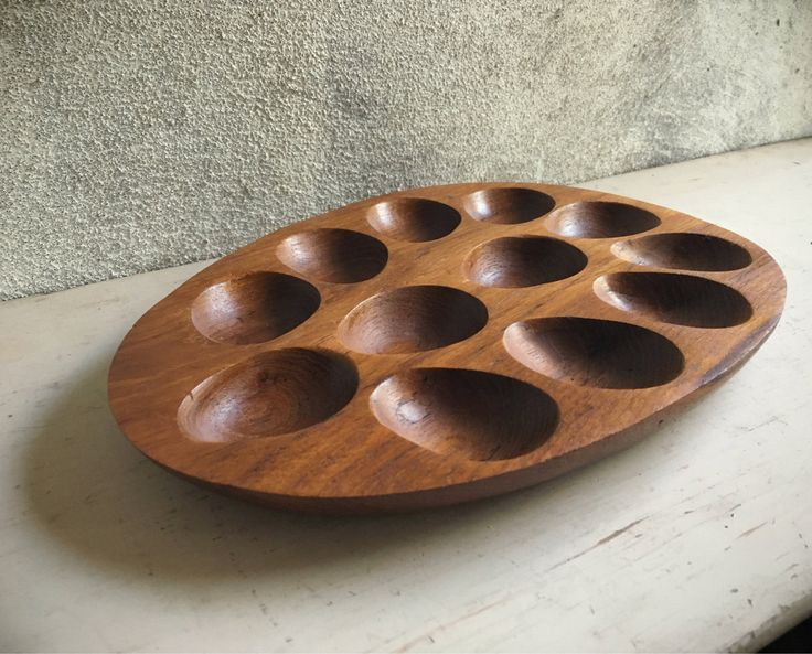 Knobler teak deviled egg platter holiday serving tray Midcentury Modern decor