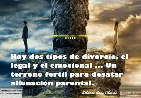 Hay dos tipos de divorcio, el legal y el emocional...un terreno fértil para desatar alienación parental.