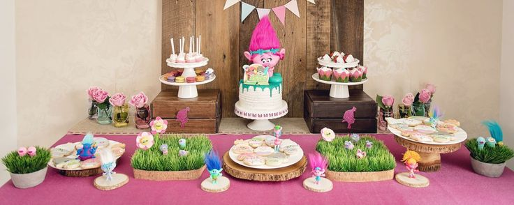 Dessert Table from a Trolls Inspired Birthday Party #trolls #trollsdesserttable #desserttable