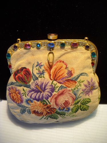 ANTIQUE VICTORIAN JEWELED FRAME PETIT POINT SMALL BAG PURSE | eBay
