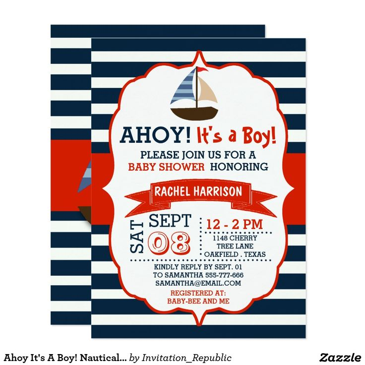 nautical boat baby shower invites