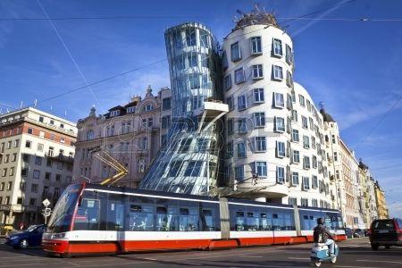Dancing house, modern architecture design  Prague, Czech Republic