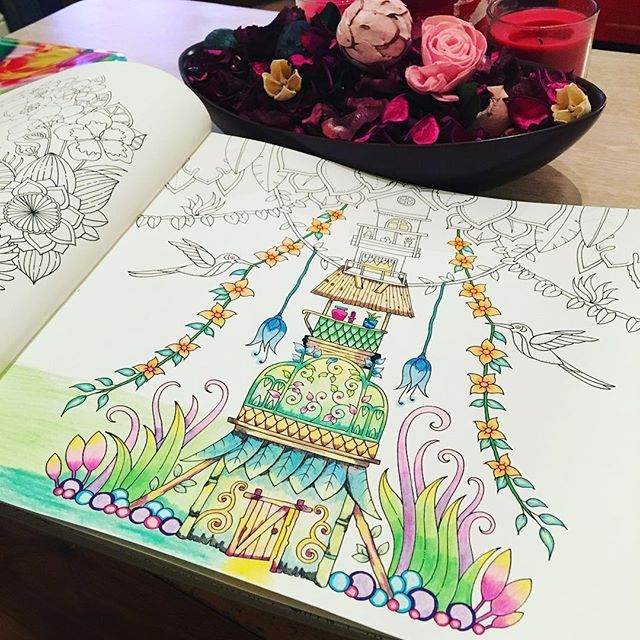 Work In Progress Magical Magicaljungle Johannabasford Adultcoloringbooks Coloringtherapy Coloringbookforadults Coloringbook Coloring Stabilo