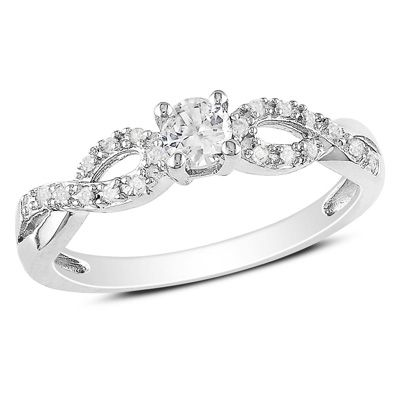 Lab-Created White Sapphire and Diamond Accent Twine Promise Ring in Sterling Silver - Zales