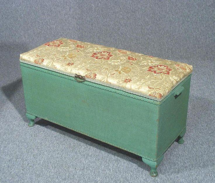 Lovely Vintage Lloyd Loom Ottoman Bench Seat Blanket Box