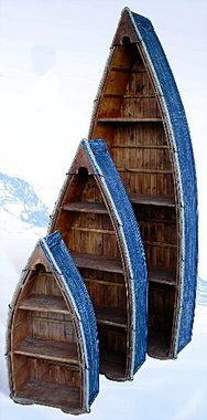"""Nautical 77"""""""" Tall Set of 3 Row Boat Bookshelves"""