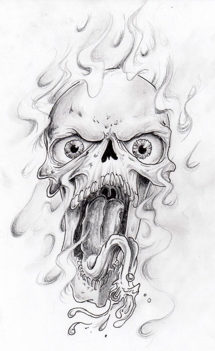flaminghorrorskulltattoodesign.jpg (708×1157) Skulls