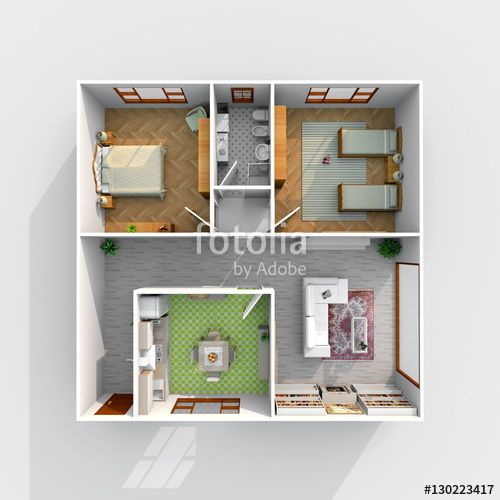 #3d #interior #rendering of #square #furnished #home #apartment