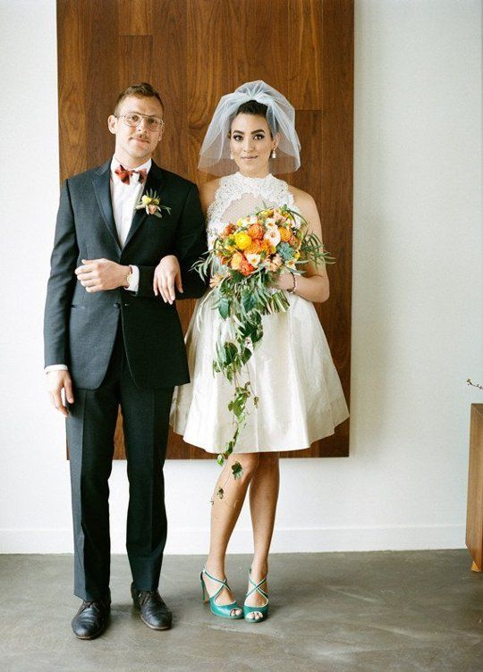17 Amazing Mid-Century Modern Wedding Details Wear this short dress and this bubble veil. Dress by Pure Magnolia in a wedding from Smitten Events on 100 Layer Cake, shot by Kirill Bordon.