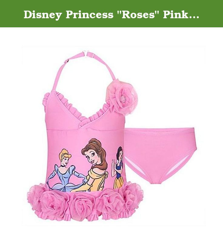 """Disney Princess """"Roses"""" Pink Tankini Swimsuit XXS(2/3)-L(10) (L(10)). Any little princess will look darling in this Disney Princess """"Roses"""" tankini swimsuit! This beautiful Disney Princess """"Roses"""" girls swimsuit features a sparkling ruffled tankini top with a gorgeous glittered image of Snow White, Cinderella and Belle with tulle rose details and matching sparkle bottoms. Swimsuit is perfect for any Disney Princess fan!."""