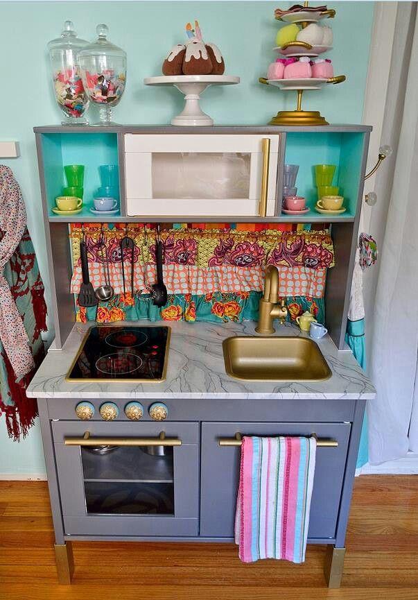 Like: painted near microwave, fabric backsplash, hooks on side, sweets on top, dishes on shelf, knobs added.
