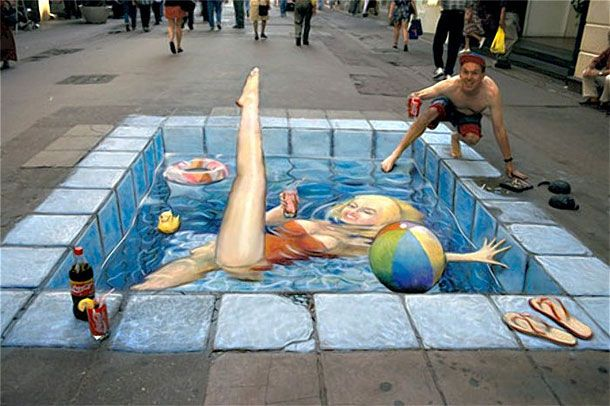 Today we want to show you 4 of the world's most talented 3D sidewalk chalk artists who have crafted the ability to trick the eyes of passersby into seeing 3 dimensional sceneries and objects on a completely flat asphalt.