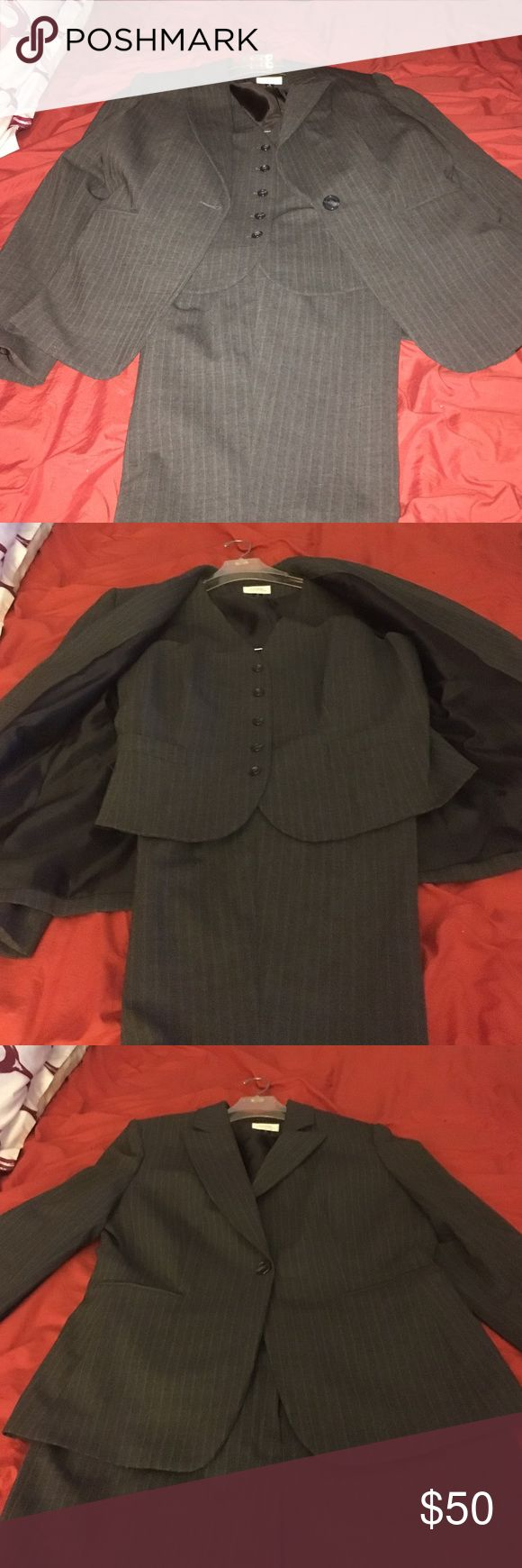 Gray pinstriped Ladies Business Suit Gray Pinstriped Ladies vested Business Suit by TAHARI Other