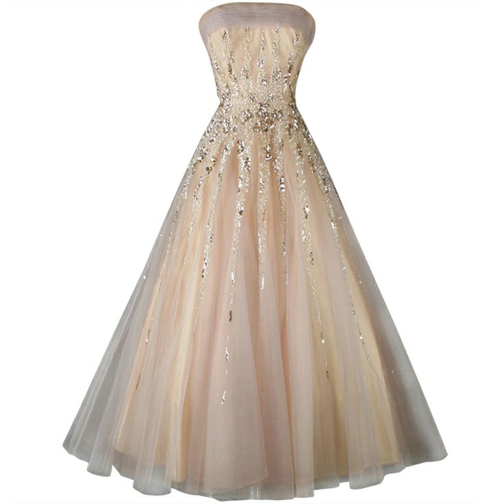 1stdibs | Vintage 1950's Mildred Moore Sequins Tulle Princess Gown
