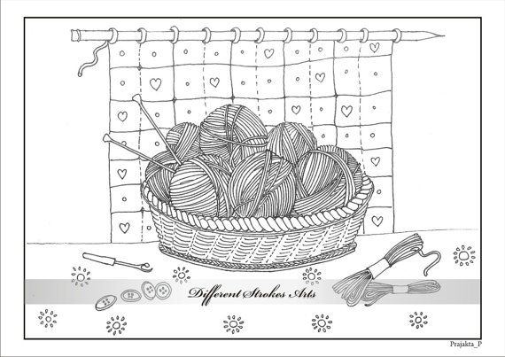 Yarn And Knitting Needles Clip Art Sketch Coloring Page