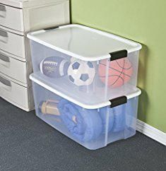 Large Plastic Storage Tubs. Sterilite 19909804 116 Quart/110 Liter Ultra Latch Box, Clear with a White Lid and Black Latches, 4-Pack.  #large #plastic #storage #tubs #largeplastic #plasticstorage #storagetubs