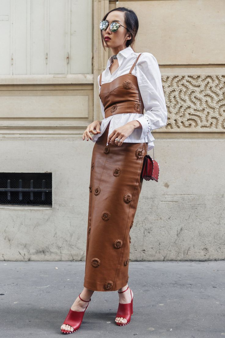 Image result for beige with leather street style 2017