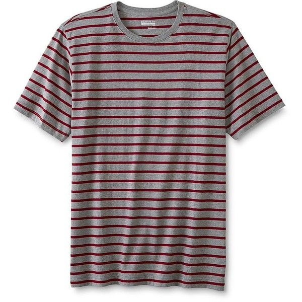 Basic Editions Men's Classic Fit T-Shirt - Striped - Kmart ($7.98) ❤ liked on Polyvore featuring men's fashion, men's clothing, men's shirts, men's t-shirts, basic editions men's shirts, mens classic fit shirts, mens t shirts, mens striped t shirt and mens striped shirt