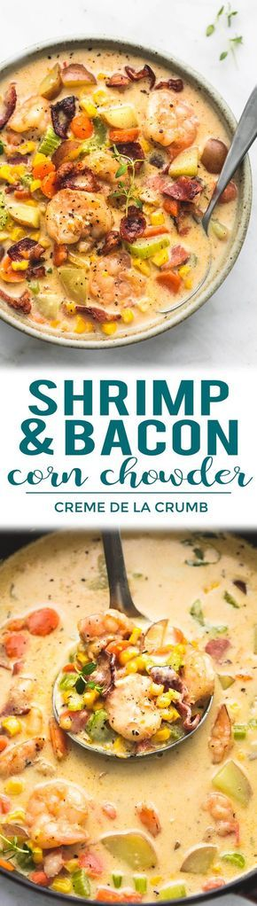 Rich and creamy SHRIMP AND BACON CORN CHOWDER made in just 30 minutes. You'll crave this tasty soup all season long! | lecremedelacrumb.com