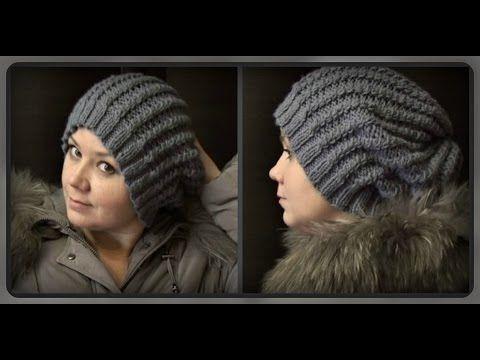 осенне - зимняя женская шапка, вязание спицами - YouTube