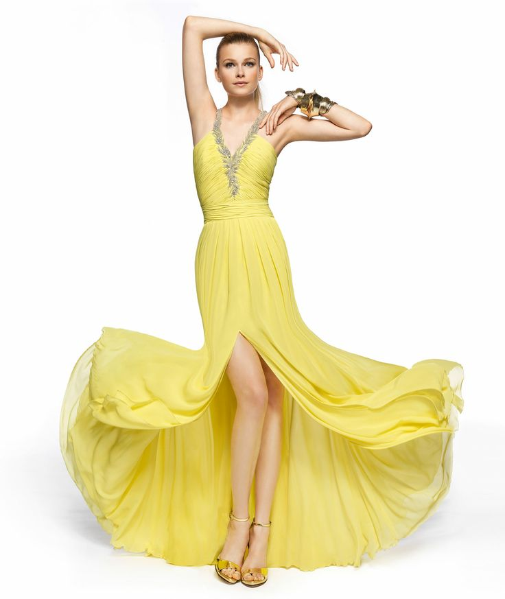 NOT IN YELLOW, But: Pronovias presents the Zada cocktail dress from the 2013 Long Dress collection.   Pronovias