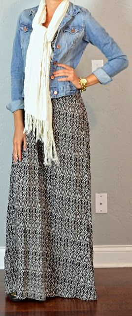 Maxi dress/skirt, denim jacket, cream fringe scarf.