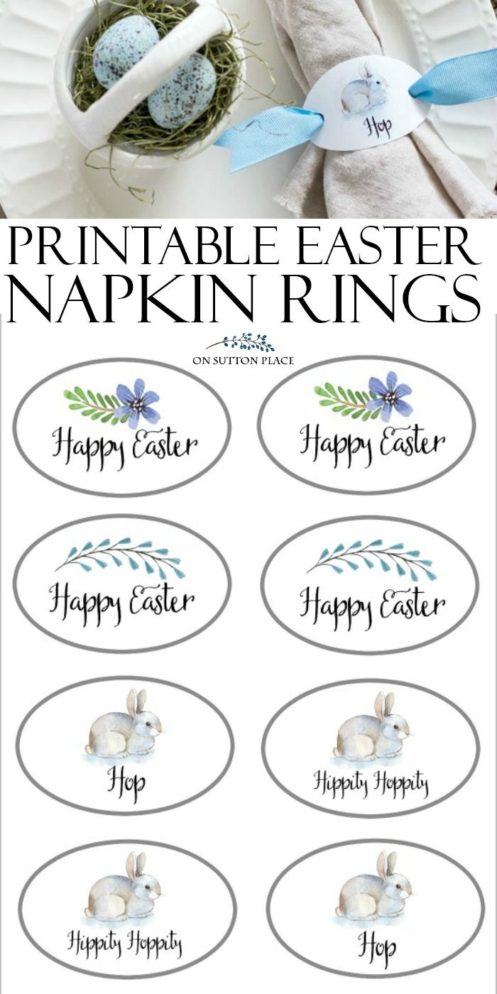 Happy Easter Napkin Rings Free Printable On Sutton Place Easter Napkins Rings Easter Napkins Easter Printables Free