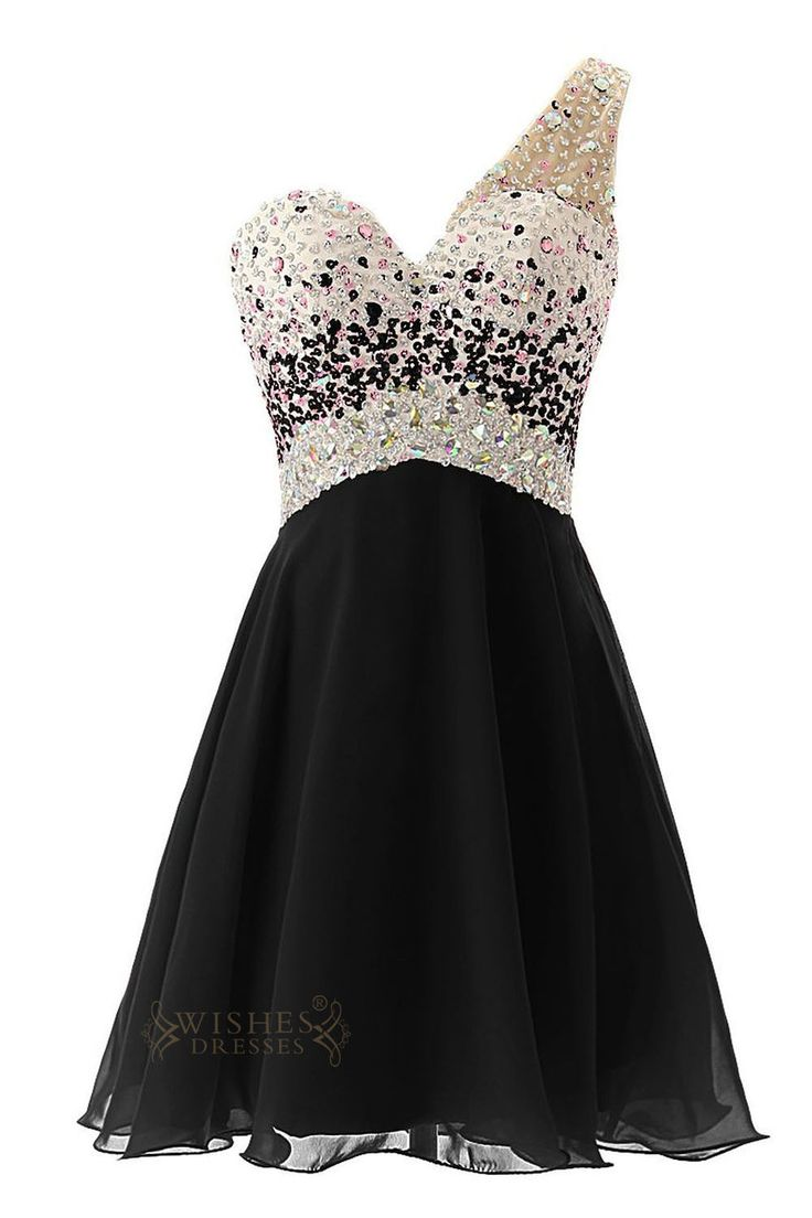 Looking for a homecoming dress or holiday cocktail dress that will make you look and feel fabulous? This beautiful short strapless dress features sparkling sequins and beads that define your waistline