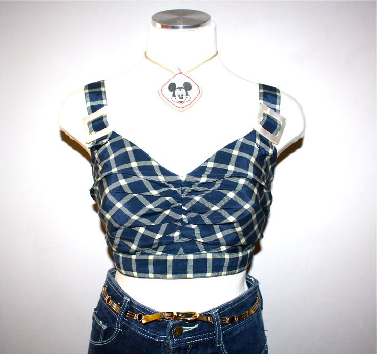 VALENTINO BOUTIQUE Vintage Bustier Navy Plaid by StatedStyle