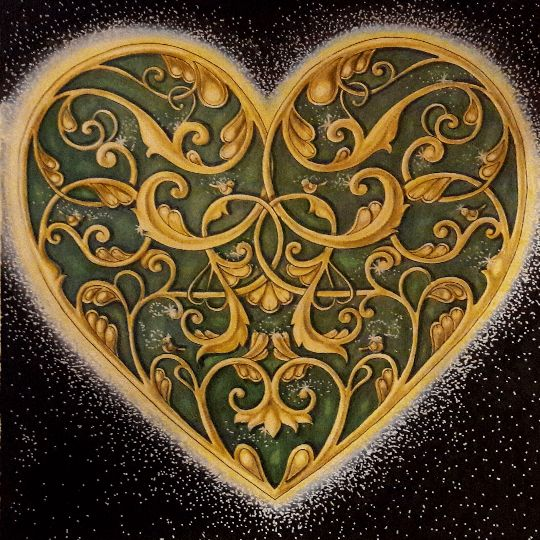 Filigree heart. Johanna Basford's Christmas. The single color palette makes this!!. Maybe make the b/g resemble silk or satin as if the heart (enlarged) were in a gift box.