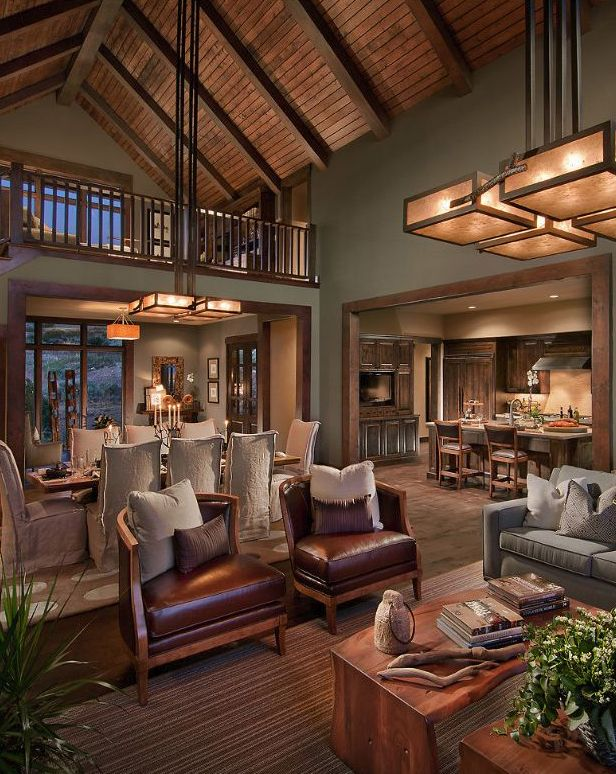 CSE Contemporary Living Room Design...View II  My eyes skip over the really great looking, quality pieces and land on those wrinkled slips @ the Dining Table...Lame!