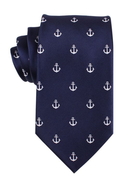 Mens Tie 8.5CM Navy Blue Silver Anchor M044T85 Ties by OTAA, $34.99