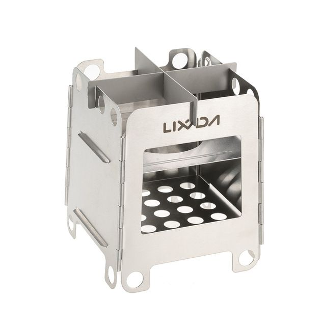 Lixada Portable Titanium Lightweight Folding Wood Stove Pocket Stove with Mini Alcohol Stove for Outdoor Camping Backpacking Cooking Picnic