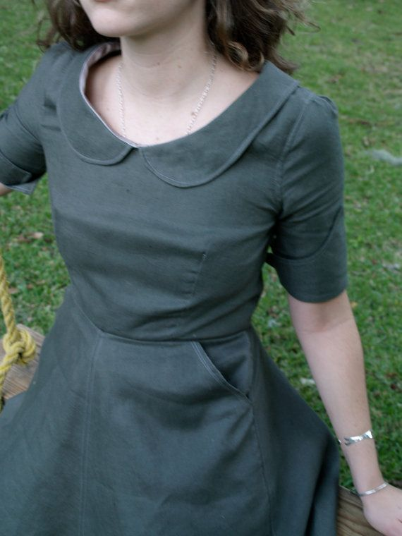 soot grey linen dress with peter pan collar made to by THREADBEAT, $210.00