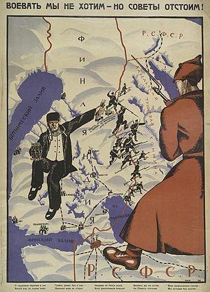 """Bolševikkien propagandajuliste vuodelta 1922 – """"Sotia emme tahdo – mutta Neuvostoja puolustamme"""