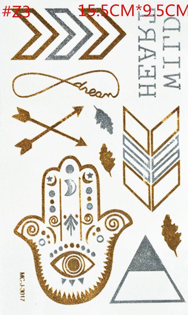Золото татуировки продукты секса ожерелье браслеты татуировки металлические временные татуировки женщин флэш металлик поддельные золото серебро татуировки