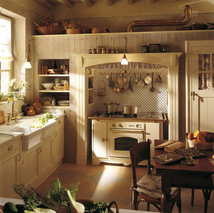 English Country Style White Kitchen With Modern Wood Base Cabinet Also
