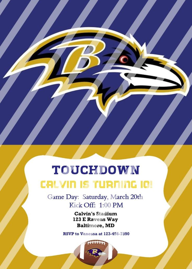 Baltimore Ravens Personalized Party Invitation #8 (digital file you print)