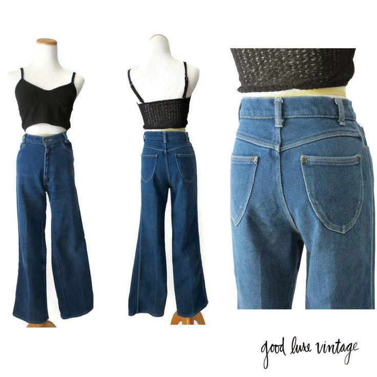 70s jeans high waist 1970s hippie boho denim medium blue high rise stockton of dallas size