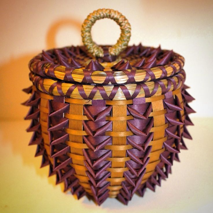 Purple pineapple curl and gold flat lid basket made by Mohawk basket maker, Ann Mitchell.
