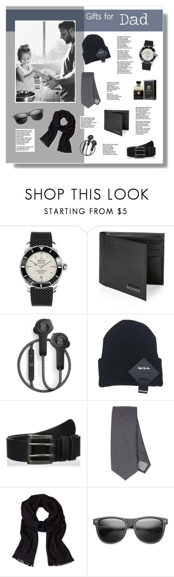// 1337. Gifts for Dad. by lilymcenvy on Polyvore featuring Breitling, ZeroUV, Tommy Hilfiger, Versace, Eleventy, Levi's, B&O Play, PENHALIGON'S, men's fashion and menswear