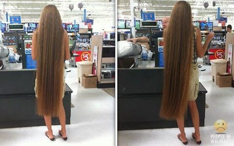 A Woman With Extremely Long Hair Shopping At Walmart