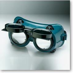 Óculos de proteção soldador, em PVC verde. Tamanho único.