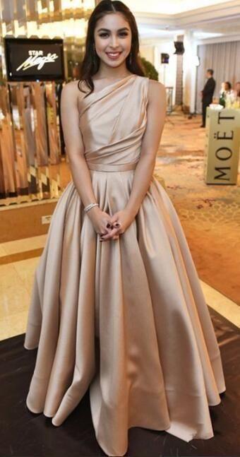One Shoulder Champagne Langes Abendkleid, Satin Abendkleid 2020, Elegante Formelle …   – Prom Dresses Cheap