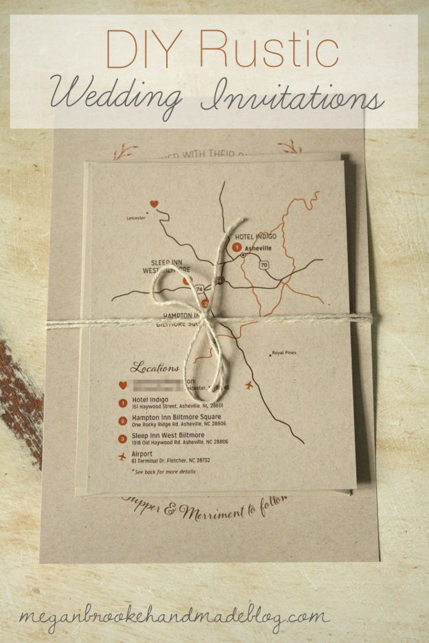 DIY Rustic Wedding Invitations add lace and make ink berry colored- like map detail