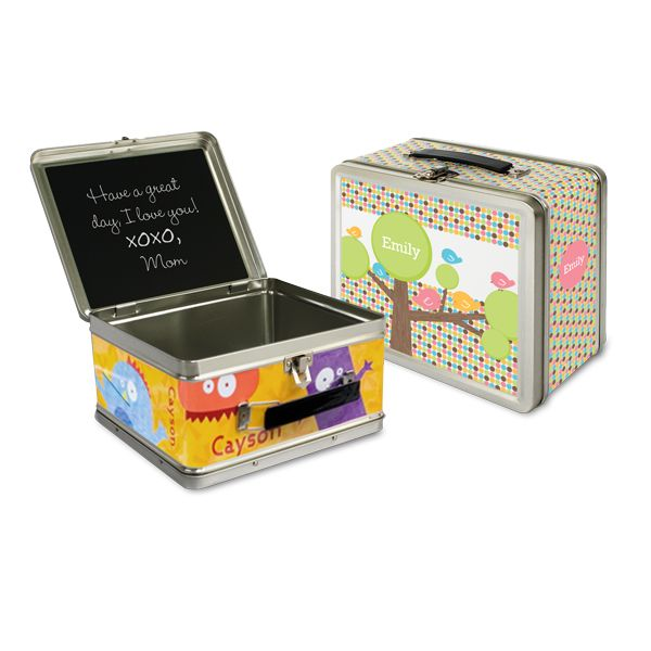 Personalized Lunch Boxes for Kids  - with a chalkboard inside to write notes!